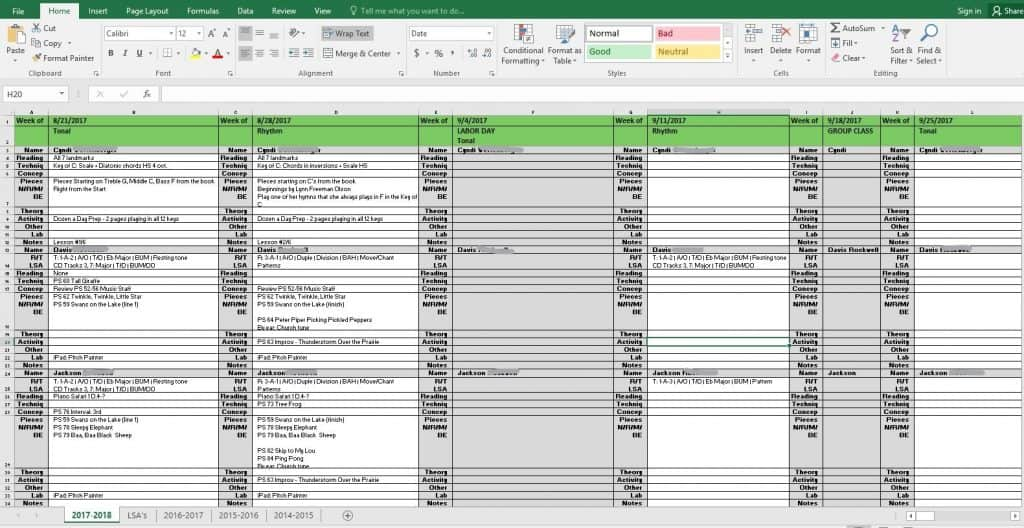 lesson planning a king size master spreadsheet piano pantry